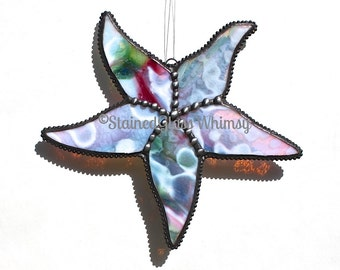 Stained Glass STARFISH Suncatcher -- White, with Cranberry Pinks and Greens -- USA Handmade Original, Starfish Suncatcher, Sea Star