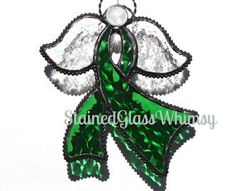 Green Stained Glass Ribbon Angel Suncatcher, Deep Emerald Green, Textured, Rainbow Iridescent Wings, USA Made, Green Awareness Ribbon Angel