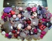 SALE - Destash - Semi-Precious Stone Lot - variety - pinks, purples - beads SP929