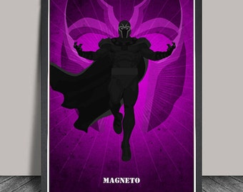 Magneto,X-Men Print, Marvel Comics.Superheroes Minimalist Superhero poster,Heroes Illustrations,Wall art,Artwork poster,Christmas Gift
