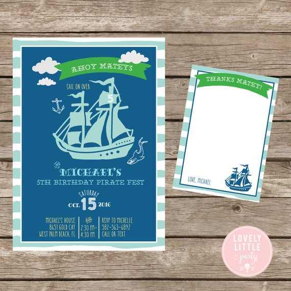 Pirate Party invitation Boy, Pirate Ship Invitation Kit  - Invite AND Thank You Card included -Printable or Printed Option