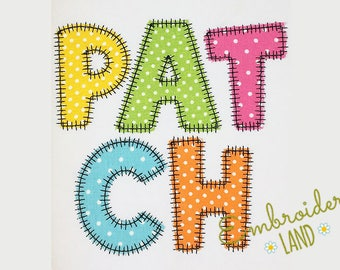 "BX included! ""Patch"" Style Applique Alphabet Machine Embroidery Design 4 sizes AL039"