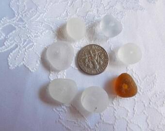 Genuine Beach Glass Beads - drilled round flats - DESTASH