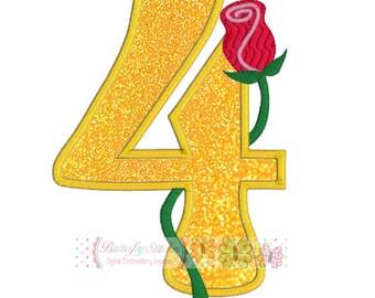 Rose Number 4 Digital Machine Embroidery Appliqué Design