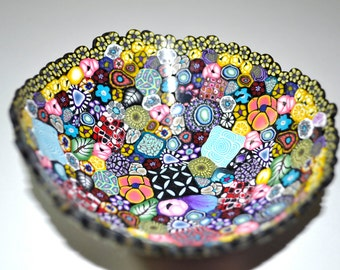 Mille Fiori Bowl, Colorful Canes in all different designs Polymer Clay, OOAK, Jewelry bowl, candy bowl, decorative bowl