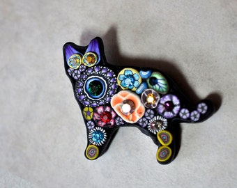 Swarovski Purple Ears Cat Pin, Bright, Sparkly, Bling, Mille Fiori, OOAK, Brooch, Jewelry