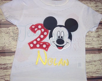 Mickey Mouse Birthday Shirt, Personalized Birthday and Name, Appliqué, Embroidery, TessieMaes