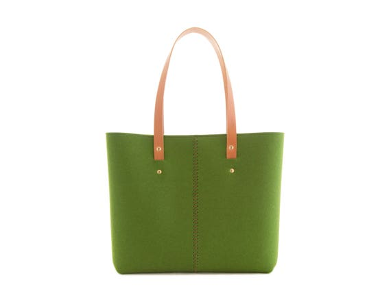 Wool Felt TOTE BAG / green tote bag / womens bag / felt shoulder bag / carry all bag / made in Italy