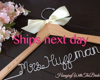 RUSH ORDER, ship next business day---Wedding Hanger,  Name Hanger, Wedding Hanger, Personalized Bridal Gift, Bride gift ideas,Dress hanger