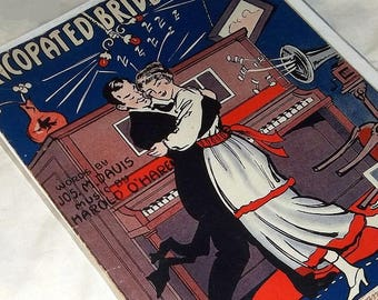 1916 Sheet Music Art, Syncopated Bride and Groom
