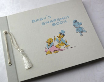 Vintage Baby Photo Album Baby Snapshot Book Photography White cover Retro Baby Shower Gift Baptismal Present Nursery Decor with Box