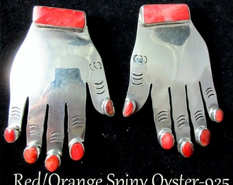 """FEDERICO JIMENEZ~Unique~925~Sculpted Hands~Red/Orange Spiny Oyster """"Nail Polish"""" ~CLIP Earrings"""