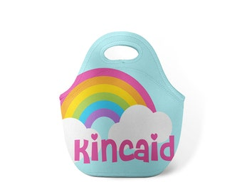 Personalized Lunch Tote - Over the Rainbow - Custom Lunch tote for Children