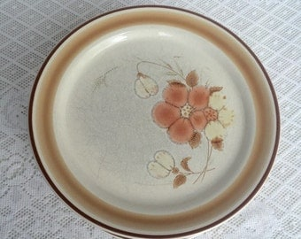 Christmas Sale Vintage Hearthside Stoneware Brown Orange and White Floral Plates Made in Japan