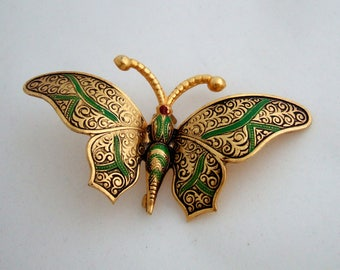 Elegant Green & Gold Butterfly Brooch Signed Spain Unique Enamel Jewelry Spanish Damascene Vintage Jewelry Unique Gift for Her Birthday Gift