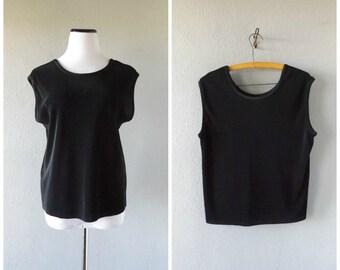 Black Pleat 90s Blouse Vintage Oversized Boxy Tank Top Medium Semi Sheer Gothic Vaporwave Shirt 1990s Minimalist Dress Skirts Cyber Goth Tee
