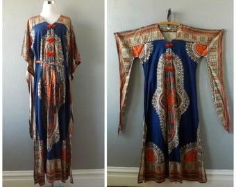hippie dashiki 60s dress | vintage blue red ethnic pakistan clothing size m/medium hippy boho kaftan caftan blouse tops 1960s bohemian dress