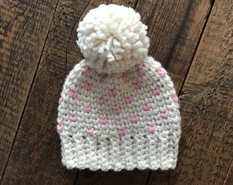 Children's Fair Isle Pom Hat, Crochet Pom Hat, Crochet Beanie, Little Heart Winter Hat, MADE TO ORDER