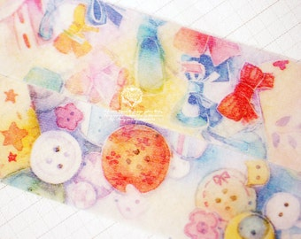 Designers personal special order washi paper masking tape - Limited Edition pinky sweetie Sewing Box 1 roll