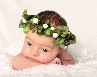 Halo Wreath Woodsy headband with white berries, NB to 6 Months,  photography prop