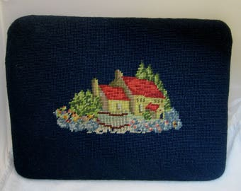 Vintage Needlepoint Foot Stool Top Only Cottage and Flowers Great Color !