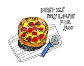 Pizza Card, Pizza Note Card, Illustrated Card, Greeting Card, Blank Note Card