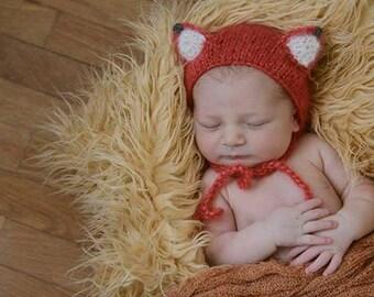 Newborn Fox Bonnet, Mohair Bonnet, Bear Ears Hat, Newborn Wrap, Lace Blanket, Lace Mohair Wrap in Orange