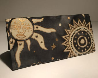 Fabric Checkbook Cover - Black and Gold Sun and Stars with Black Interior