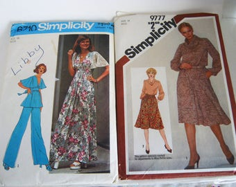 Sewing Pattern-Simplicity 6710 and 9777 Misses' Dress, Top , Pants and Skirt Size 14 1974 n 1980 Vintage