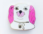 DOG HEAD BROOCH - pink