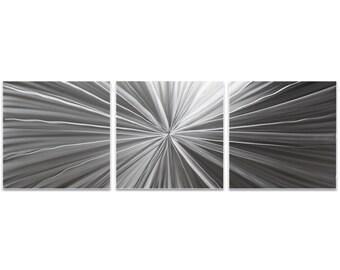 Starburst Metal Art 'Tantalum Triptych' by Nicholas Yust - Sunburst Wall Decor Minimalist Artwork on Metal or Acrylic