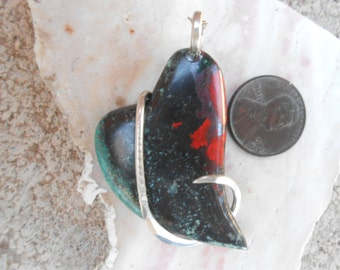 Cabochon-Sonora Sunrise Heart Silver Wrapped Pendent