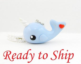 Ready to Ship Kawaii Narwhal Necklace Unicorn of the Sea Jewelry