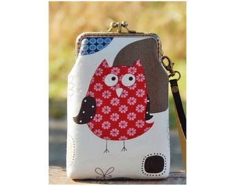 Wristlet phone case two compartment, Owl, Eyeglasses case, iPhone 6 plus, Galaxy note