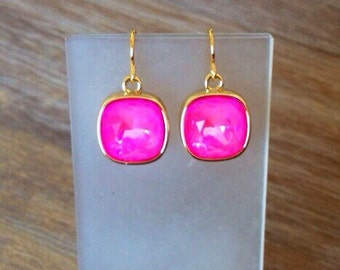 Bridesmaid Earrings Wedding Earrings Neon Pink Swarovski Studs  Post Earrings Bridesmaid Gift Wedding Jewelry Swarovski Neon Earrings