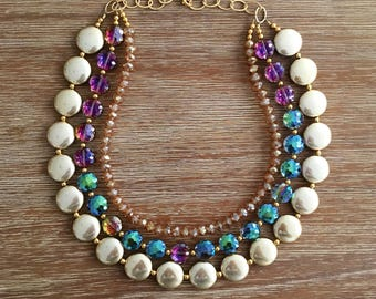 LIMITED EDITION Bright Metallic Gold and Sparkling Green/Pink Crystals with Champagne Crystals Necklace
