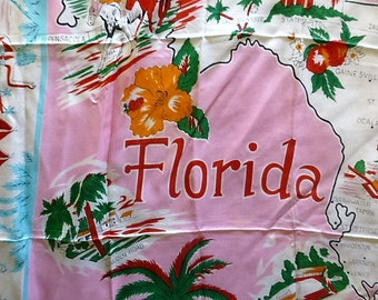 Vintage Mid Century Florida Souvenir Soft Rayon Scarf Made in Japan
