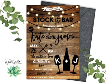 Stock The Bar Invitation | Rustic Stock The Bar Shower | Engagement Party | Rehearsal Dinner | Couples Shower  Digital Printable Invitation