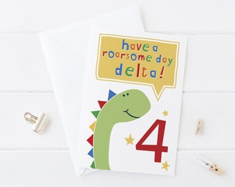 Dinosaur Birthday Card - personalised card for children - any age - cute dinosaur card - dinosaur birthday - wink  design - card for boys