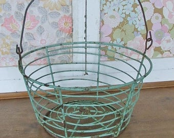 Old Vintage Green Wire Basket with wooden handle