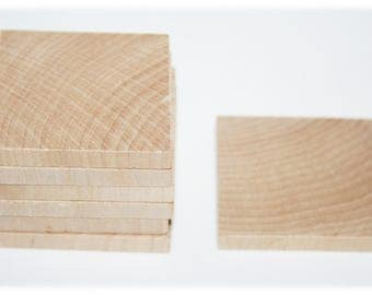 """50- 2"""" Unfinished Wood Squares, Cut Out Square, Wood Pieces,  DIY Craft, Wood Tiles, Wood Pendant,"""