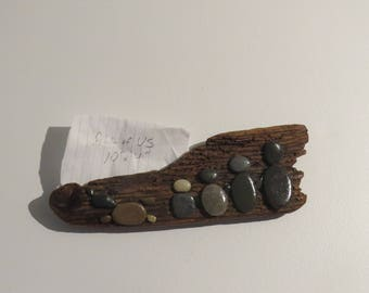 """Beach Stone Driftwood Magnet or Wall Hanging """"All of Us"""""""
