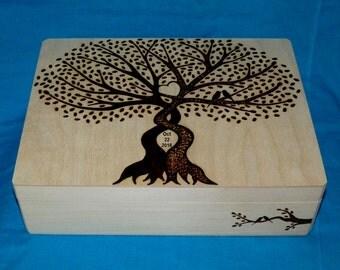 Rustic Wedding Box Wooden Card Box Wedding Keepsake Box Wood Burned Suitcase Wedding Tree Infinity Tree Of Life Personalized Wood Gifts Owl