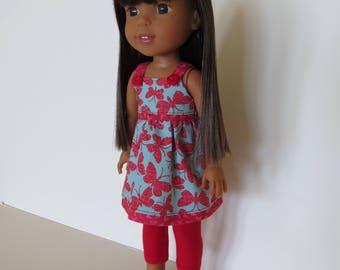 "Made To Fit Like 14.5"" Wellie Wishers Doll Clothes: Wellie Wishers Doll Sundress; Sundress for AG Wellie Wishers Doll; Doll Dress"