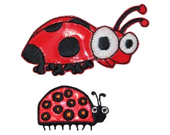 ID 0415AB Set of Cute Ladybug Patches Bug Vinyl Embroidered Iron On Applique