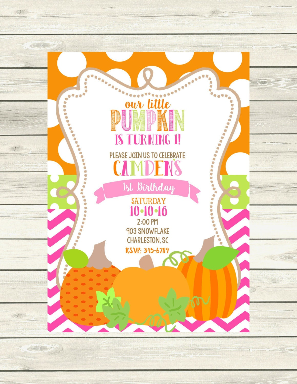 Pumpkin Birthday Party invitations printable or digital file- little ...