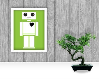 Robot Digital Art Print - Green