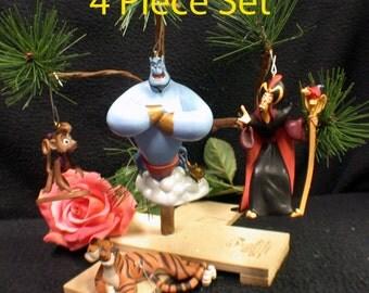 4 pieces set Aladdin Christmas Tree Ornaments: Genie, Abu, Rajah, Jafar Disney
