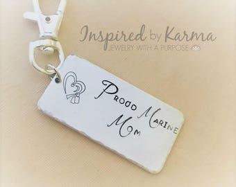 USMC Mom Key Chain,Military Mom,Personalized Key chain,Military Jewelry,gifts under 30,personalized gifts,Proud Marine Mom, Dad, US Marine
