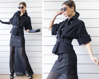 Vintage black cotton cinched waist belted cropped cape trench jacket coat XS S